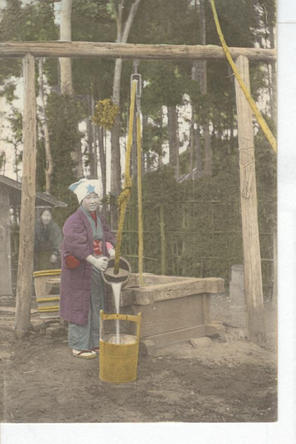 1909 Japan...Woman Getting Water From Well...Geisha Girl