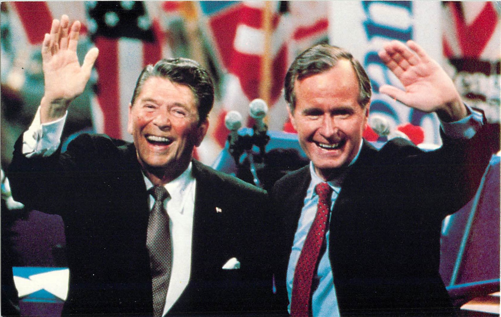 """President Reagan with Vice President Bush"""