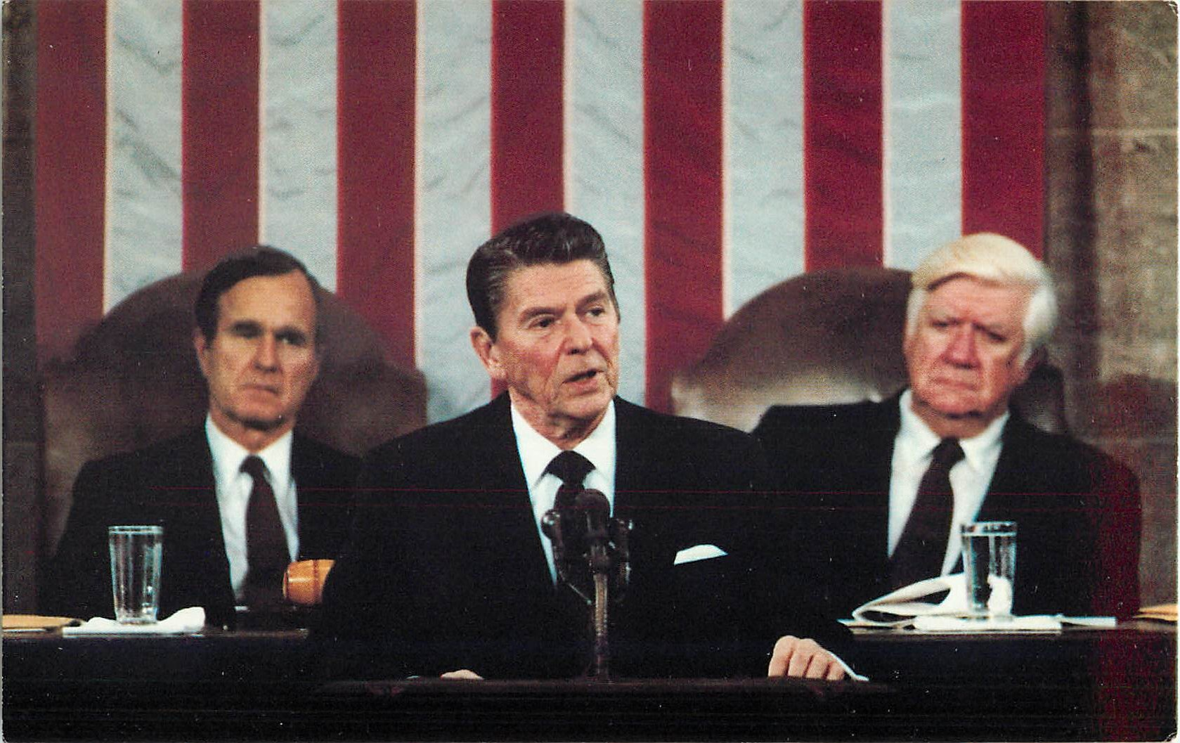 President Reagan, Vice President Bush, and House Speaker