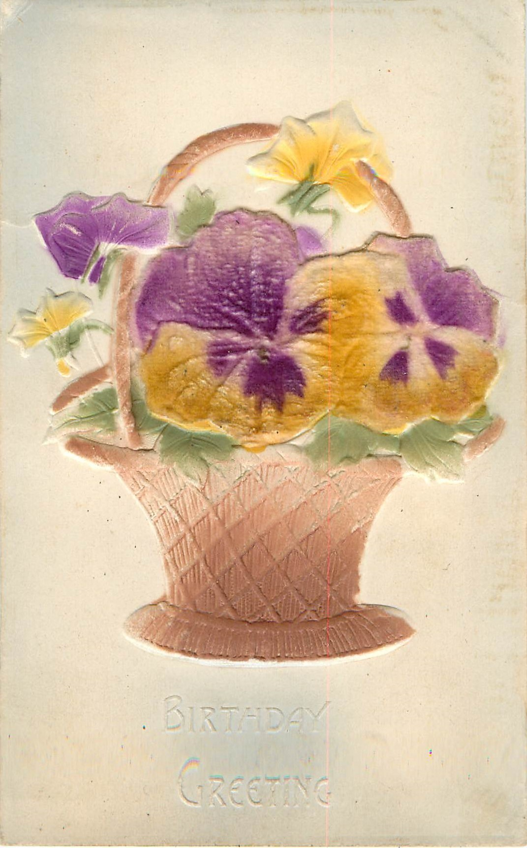 Birthday Greeting Basket Pansy